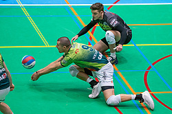 Adam White of Orion, Rob Jorna of Orion in action during the league match between Active Living Orion vs. Amysoft Lycurgus on March 20, 2021 in Doetinchem.