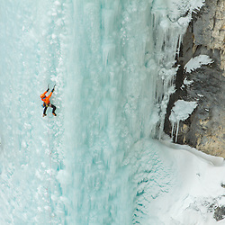 Brent Peters ice climbing Kemosabe, a two pitch WI5 in the North Ghost. This shot made the cover of Gripped the winter that we shot all the pictures for Brent's book Ice Lines.