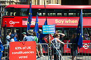 Pro and anti Brexit placards attached to railings on College Green opposite the Houses of Parliament following the announcement that Boris Johnson will be the new Conservative leader and Prime Minister, on 23rd July, 2019 in London, United Kingdom.