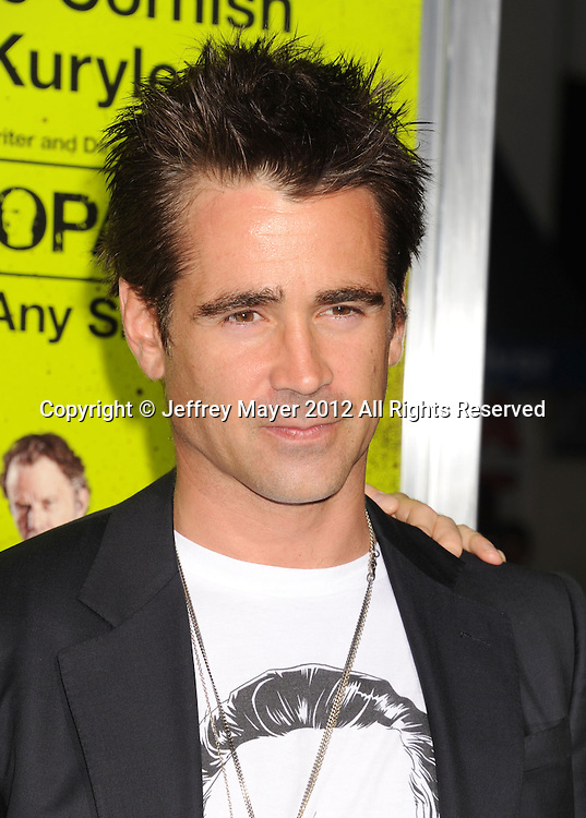 WESTWOOD, CA - OCTOBER 01: Colin Farrell arrives at the Los Angeles premiere of 'Seven Psychopaths' at Mann Bruin Theatre on October 1, 2012 in Westwood, California.