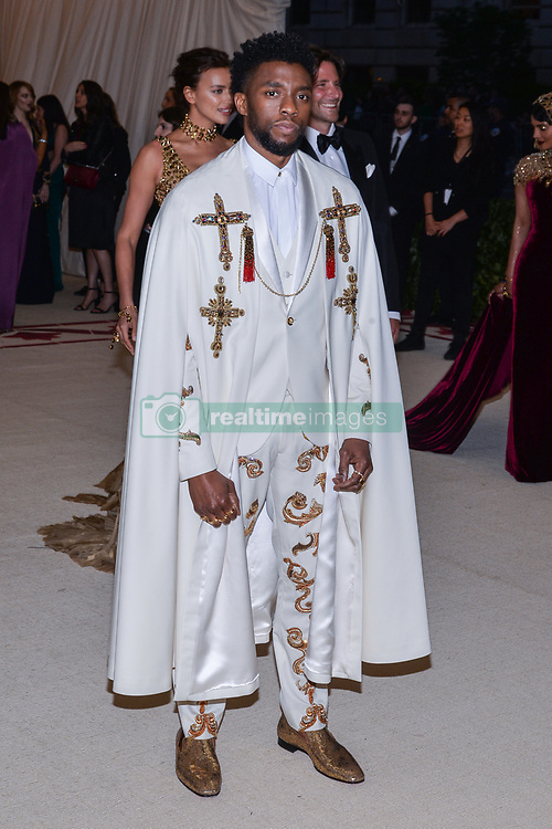 Chadwick Boseman walking the red carpet at The Metropolitan Museum of Art Costume Institute Benefit celebrating the opening of Heavenly Bodies : Fashion and the Catholic Imagination held at The Metropolitan Museum of Art  in New York, NY, on May 7, 2018. (Photo by Anthony Behar/Sipa USA)
