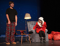 """Lendall (Maccoy Bourgeois) is not sure how to respond when approached by Gayle (Delaney Andrews) in the scene """"Getting it Back""""  during dress rehearsal for """"Almost, Maine"""" with Gilford High School's Performing Arts Tuesday afternoon.  (Karen Bobotas/for the Laconia Daily Sun)"""
