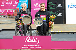 March 10, 2019 - London, United Kingdom - Margaret Van Den Broek and David Weir are seen posing with their awards after running The Vitality Big Half, which has returned for a festival of running and culture to the heart of London in a celebration of the rich and wonderful diversity of the capital city and Finishing it at Cutty Sark. (Credit Image: © Terry Scott/SOPA Images via ZUMA Wire)