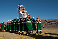 Inty Raymi. Third act. Archaeological site of Sachsayuaman. The Qhola, wife of Inca, on final parade-