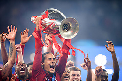 June 2, 2019 - Madrid, Spain - 190602 Virgil van Dijk of Liverpool celebrate with the trophy after the UEFA Champions League final between Tottenham and Liverpool on June 2, 2019 in Madrid..Photo: Petter Arvidson / BILDBYRÃ…N / kod PA / 92302 (Credit Image: © Petter Arvidson/Bildbyran via ZUMA Press)