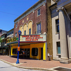 Phoenixville, PA, USA - June 14, 2020: In 1958, the science fiction movie, The Blob, starring Steve McQueen, was filmed at The Colonial Theatre. Blobfest is held here each summer.