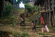 Konyak Naga rice baskets<br /> Konyak Naga headhunting Tribe<br /> Mon district<br /> Nagaland,  ne India