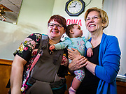 26 APRIL 2019 - TIPTON, IOWA: Sen. ELIZABETH WARREN (D-MA) talks to supporters after a campaign appearance in the Tipton Family Restaurant. Sen. Warren is campaigning in eastern Iowa Friday. Iowa traditionally hosts the the first selection event of the presidential election cycle. The Iowa Caucuses will be on Feb. 3, 2020.                 PHOTO BY JACK KURTZ