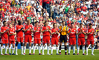 Photo: Ed Godden.<br /> Portsmouth v Liverpool. The Barclays Premiership. 28/04/2007. Liverpool players take part in a 1 minute applause dedicated to Alan Ball.