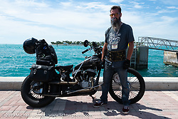 Shane Masters with his Class III 1948 Indian Chief after crossing the finish line of the Cross Country Chase motorcycle endurance run from Sault Sainte Marie, MI to Key West, FL. (for vintage bikes from 1930-1948). The staging area on a Key West pier just before the finish and near the end of the 110 mile Stage-10 ride from Miami to Key West, FL USA. Sunday, September 15, 2019. Photography ©2019 Michael Lichter.