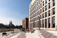 the Motel One Hotel in the MesseCity in the district Deutz, in the background the cathedral, Cologne, Germany.<br /> <br /> das Motel One Hotel in der MesseCity im Stadtteil Deutz, im Hintergrund der Dom, Koeln, Deutschland.