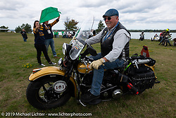 Kansan Terry Richardson riding his 1946 Harley-Davidson FL Knucklehead out from Aune Osborne Park in Sault Sainte Marie, the site of the official start of the Cross Country Chase motorcycle endurance run from Sault Sainte Marie, MI to Key West, FL. (for vintage bikes from 1930-1948). Thursday, September 5, 2019. Photography ©2019 Michael Lichter.