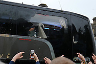 the Manchester United team coach window is smashed by bottles thrown by West Ham United fans outside Boleyn Ground before k/o. scenes around the Boleyn Ground, Upton Park in East London as West Ham United play their last ever game at the famous ground before their move to the Olympic Stadium next season. Barclays Premier league match, West Ham Utd v Man Utd at the Boleyn Ground in London on Tuesday 10th May 2016.<br /> pic by John Patrick Fletcher, Andrew Orchard sports photography.