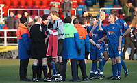 Photo: Ian Hebden.<br />Rushden & Diamonds v Grimsby Town. Coca Cola League 2. 04/03/2006.<br />Grimsby players and coaching staff complain about the dismissal of Robert Jones at full time.