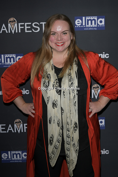"""ANNA MEGAN BECKER attends the premiere screening of """"We Summon the Darkness"""" on closing night of the 19th Annual SCREAMFEST Horror Film Festival at TCL Chinese Theatre 6 in Los Angeles, California."""