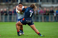 Anthony Perenise of Bath Rugby is tackled by Pierre Schoeman of Edinburgh Rugby during the Rugby Friendly match between Edinburgh Rugby and Bath Rugby at Meggetland Sports Complex, Edinburgh, Scotland on 17 August 2018.