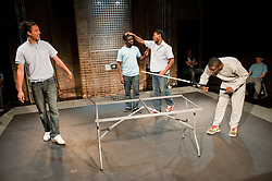 "© Copyright licensed to London News Pictures. 12/11/2010. ""Inside"" by Philip Osment, presented by Playing Out at the Roundhouse, Camden, London. Based on the real experiences of young fathers in prison, the play deals with big questions surrounding relationships, both with their own fathers and with their children. L to R: Kyle Thorne, Michael Amaning, Darren Douglas, Ayo Bodunrin."