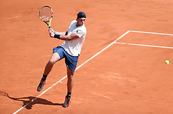 PARIS, June 4, 2018  Maximilian Marterer of Germany returns a shot during the men's singles 4th round match against Rafael Nadal of Spain at the French Open Tennis Tournament 2018 in Paris, France, on June 4, 2018. Maximilian Marterer lost 0-3.  wll) (Credit Image: © Luo Huanhuan/Xinhua via ZUMA Wire)