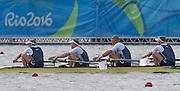 "Rio de Janeiro. BRAZIL.  GBR M4-, Bow Alex GREGORY, Mohamed SBIHI, George NASH and Constantine LOULOUDIS. 2016 Olympic Rowing Regatta. Lagoa Stadium,<br /> Copacabana,  ""Olympic Summer Games""<br /> Rodrigo de Freitas Lagoon, Lagoa. Local Time 09:46:05  Thursday  11/08/2016 <br /> [Mandatory Credit; Peter SPURRIER/Intersport Images]"