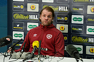Heart of Midlothian manager Robbie Neilson speaks to the media during the Heart of Midlothian press conference, media and training session, ahead of the William Hill Scottish Cup Final, at the Oriam Sports Performance Centre, Edinburgh, Scotland on 15 December 2020.