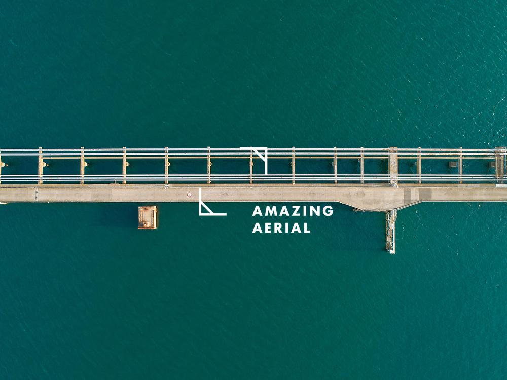 Aerial view of a bridge in Western Port Bay, Victoria, Australia