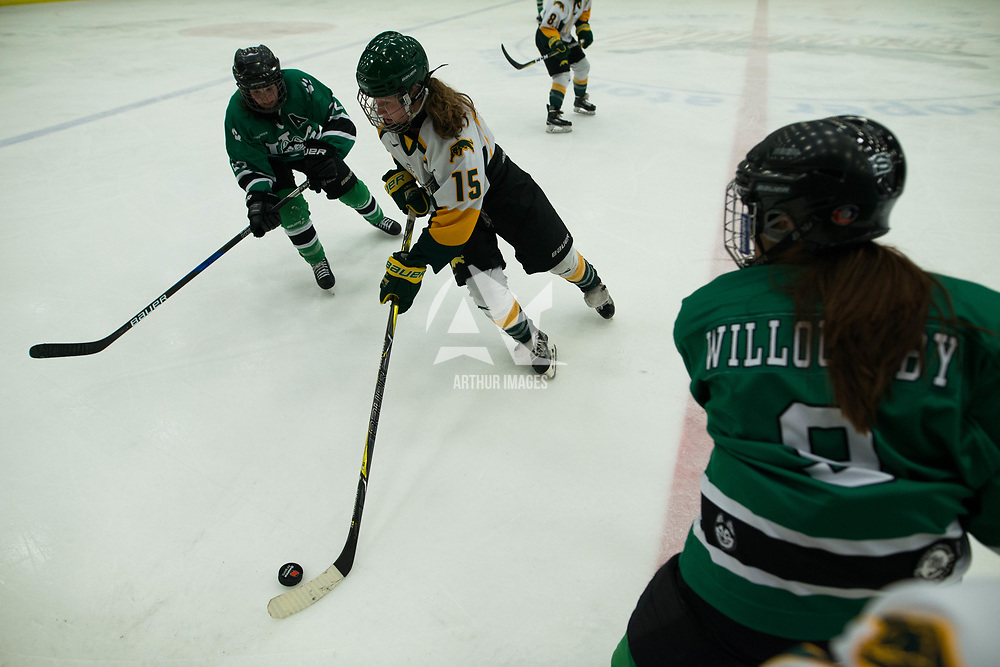 2nd year forward Sam Geekie (15) of the Regina Cougars in action during the Women's Hockey Homeopener on October 7 at Co-operators arena. Credit: Arthur Ward/Arthur Images