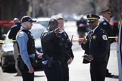 April 25, 2018 - Chicago, IL, USA - Police investigate the scene where a 16-year-old was shot and killed on the 4800 block of Monroe Street in Chicago's South Austin neighborhood Wednesday, April 25, 2018. (Credit Image: © E. Jason Wambsgans/TNS via ZUMA Wire)