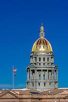 Dome of Colorado State Capitol Building, Downtown Denver, Colorado USA.