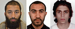 Undated handout photos issued by the Metropolitan Police of (left to right) Khuram Shazad Butt, Rachid Redouane and Youssef Zaghba who have been named as the London Bridge terrorists.