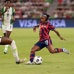 CRYSTAL DUNN (19) of the USA takes a shot at the net                             as the US Women's National Team (USWNT) beats Nigeria, 2-0 in the inaugural match of Austin's new Q2 Stadium. The U.S. women's team, an Olympic favorite, is wrapping up a series of summer matches to prep for the Tokyo Games.