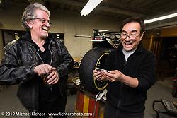 Harley-Davidson head of design Ray Drea (L) and Keiji Kawakita at Keiji's Hot Dock Custom Cycles. Tokyo, Japan. Wednesday, December 10, 2014. Photograph ©2014 Michael Lichter.
