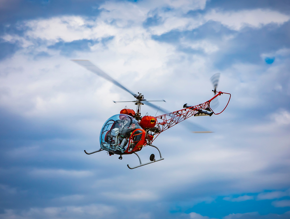 """A 1964 BELL 47G-3B-1 which was used as the original """"Bat Copter"""" in the 1960's TV series """"Batman.""""<br /> <br /> Created by aviation photographer John Slemp of Aerographs Aviation Photography. Clients include Goodyear Aviation Tires, Phillips 66 Aviation Fuels, Smithsonian Air & Space magazine, and The Lindbergh Foundation.  Specialising in high end commercial aviation photography and the supply of aviation stock photography for advertising, corporate, and editorial use."""