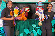 Oswald the Ostrich with Vanda the Vulture and Mac the Monkey being played by Lungelo  and Mamikie during rehearsals for 'No Monkey Business', an AREPP: Theatre for Life production providing interactive social life skills education to school children through theatre productions. They are based in Johannesburg, South Africa and are about to go on tour for 3 months doing performances everyday at schools across the country.