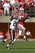 October 20, 2007 - Lincoln, NE..Wide receiver Nate Swift #87 of the Nebraska Cornhuskers goes up to pull down a first down catch against pressure from defensive back Devin Gregg #26 of the Texas A&M Aggies in the first half, during a NCAA football game at Memorial Stadium in Lincoln, Nebraska on October 20, 2007...FBC:  The Aggies defeated the Huskers 36-14.  .Photo by Peter G. Aiken/Cal Sport Media
