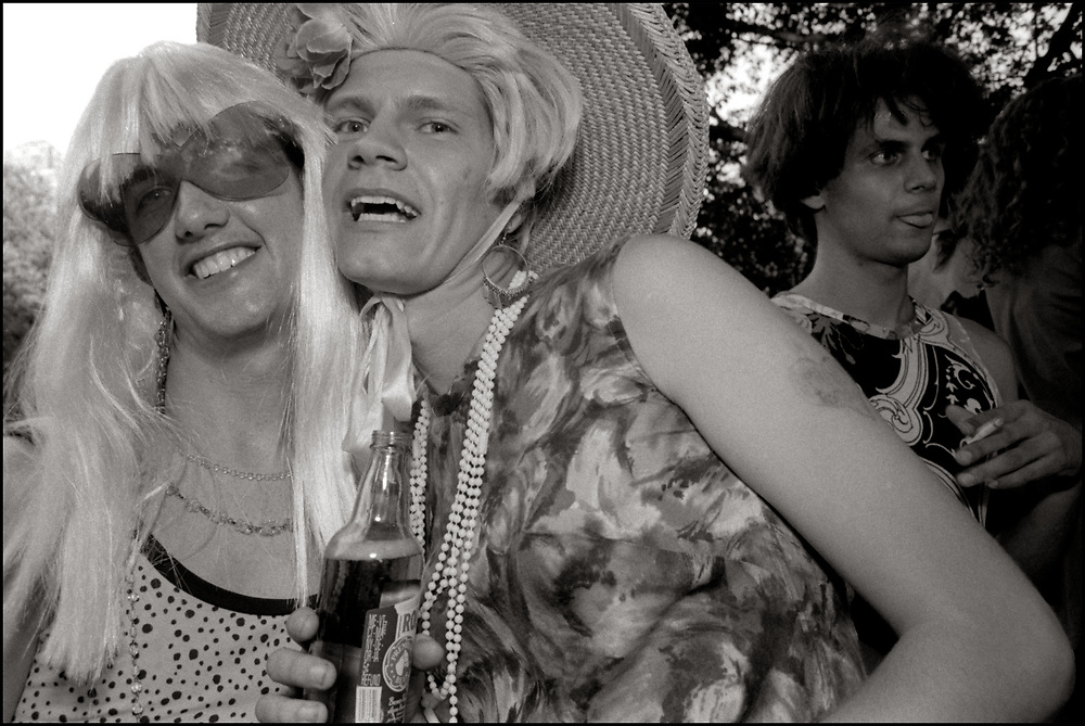 Ronny Viggiani, Rod Sorge and  William Broberg at Wigstock, an annual outdoor drag festival that began in the 1980s in Tompkins Square Park in the East Village of New York City that took place on Labor Day. 1989