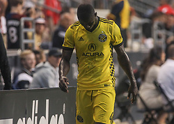 July 26, 2017 - Chester, PA, United States of America - Columbus Crew SC Defender JONATHAN MENSAH (4) walks of the field after being ejected in the second half of a Major League Soccer match between the Philadelphia Union and Columbus Crew SC Wednesday, July. 26, 2017, at Talen Energy Stadium in Chester, PA. (Credit Image: © Saquan Stimpson via ZUMA Wire)