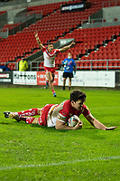 Rugby League - 2020 Betfair Super League - Semi-final - St Helens vs Catalan Dragons - TW Stadium<br /> <br /> St. Helens's Lachlan Coote scores a try<br /> <br /> COLORSPORT/TERRY DONNELLY