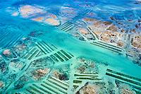 France, Manche (50), Blainville-sur-Mer, vue aérienne d'un parc à huîtres // France, Normandy, Manche department, Blainville-sur-Mer, aerial view of an oyster park