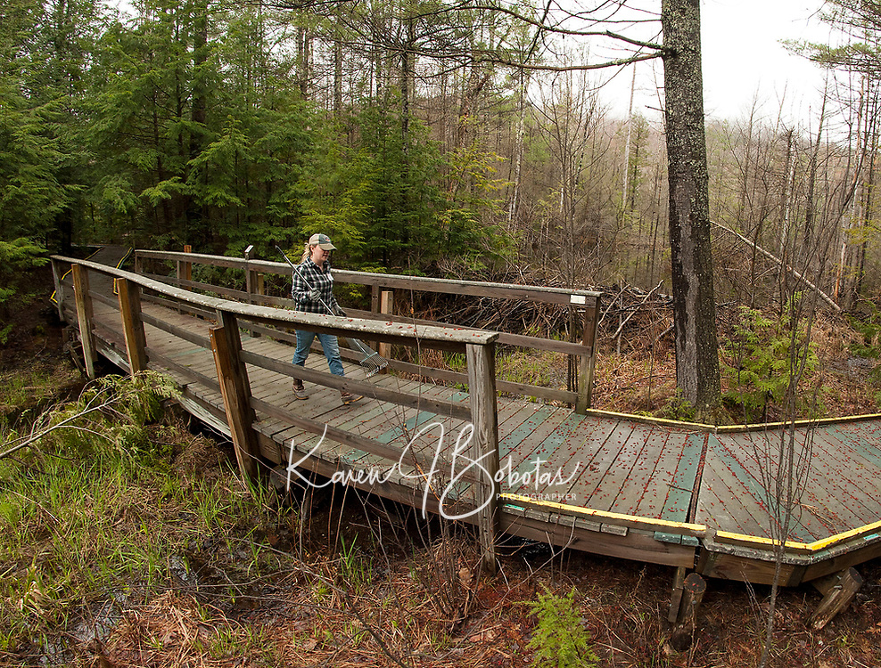 Laconia Rotary annual volunteer service project - Spring cleanup at Gunstock Resort.  Karen Bobotas for the Laconia Daily Sun