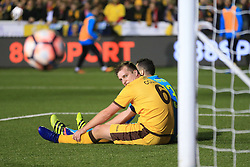 20 February 2017 - The FA Cup - (5th Round) - Sutton United v Arsenal - Jamie Collins of Sutton United looks on as the ball bounces away after his headed effort over the crossbar - Photo: Marc Atkins / Offside.