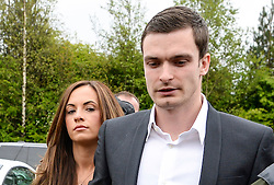 © Licensed to London News Pictures. 18/05/2015. Sunderland and England footballer Adam Jonhson and girlfriend Stacey Flounders arrive at Peterlee Magistrates court where Adam Johnson faced three counts of sexual activity with a child under 16 years and one offence of grooming. Photo credit: Nigel Roddis/LNP