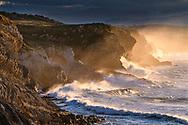 Heavy surf on the cliff, coast in Cantabria, Spain<br /> <br /> Heftige Brandung an der Steilküste