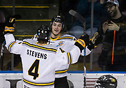 Victoria Grizzlies forward Jamie Rome celebrates his first period goal versus Powell River at the Q Centre in  Colwood, British Columbia Canada on March 27, 2017.