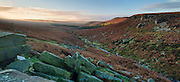 Burbage Brook flows through this autumnal panoramic scene from Upper Burbage. Higger Tor and Carl Wark can be seen in the distance. Peak District National Park. Derbyshire, England, UK. November, Autumn.