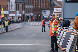Final checks by marshalls before the race arrives in Dour - Le Samyn des Dames 2016, a 113km road race from Quaregnon to Dour, on March 2, 2016 in Hainaut, Belgium.