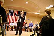 Elizabeth Edwards, wife of Presidential hopeful John Edwards, speaks to a full crowd at Mayflower Retirement Center in Grinnell.