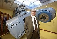 Saliba Salo, President and Chief Executive, Dignity Health<br /> Northridge, with the hospital's latest technology, a radiation treatment machine. After 50 years managing the financial affairs of San Fernando<br /> Valley hospitals, Northridge Hospital CEO Saliba Salo is looking forward to retirement. Shot in Northridge, CA. Nov. 15, 2017.  ©David Sprague 2017