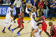 Golden State Warriors forward David West (3) looks for an open teammate during a NBA preseason game against the Los Angeles Clippers at Oracle Arena in Oakland, Calif., on October 4, 2016. (Stan Olszewski/Special to S.F. Examiner)