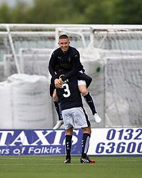 Falkirk's John Baird (9) celebrates after scoring their third goal. Falkirk 3 v 1 East Fife, Petrofac Training Cup played 25th July 2015 at The Falkirk Stadium.