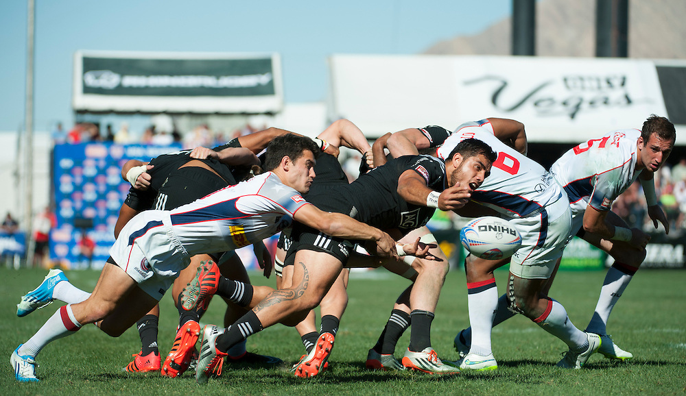 Teams take part in the final day knockout stages of the 2015 HSBC Sevens World Series  at Sam Boyd Stadium in Las Vegas, Nevada. Sunday February 15, 2015.<br /> <br /> COPYRIGHT © JACK MEGAW, 2015. <br /> <br /> www.jackmegaw.com